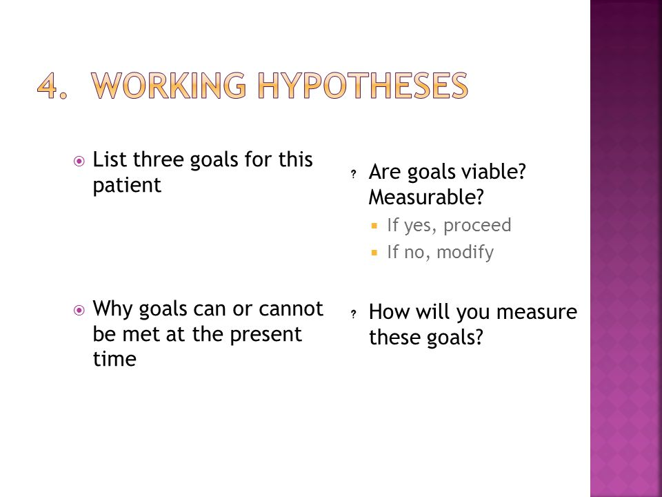 4. Working Hypotheses List three goals for this patient