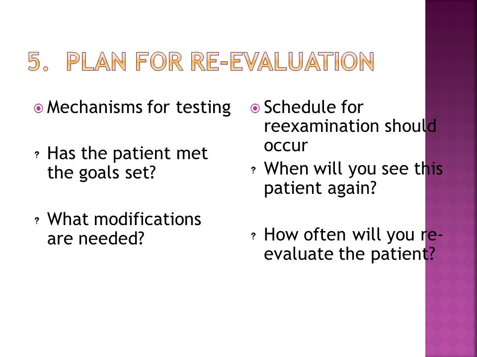 5. Plan for Re-evaluation