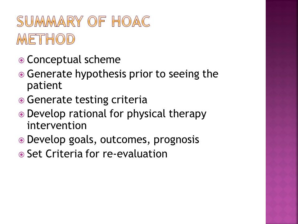 Summary of HOAC Method Conceptual scheme