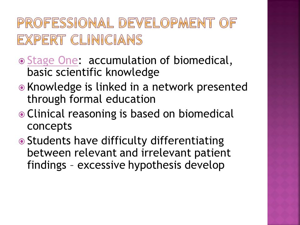 Professional Development of Expert Clinicians