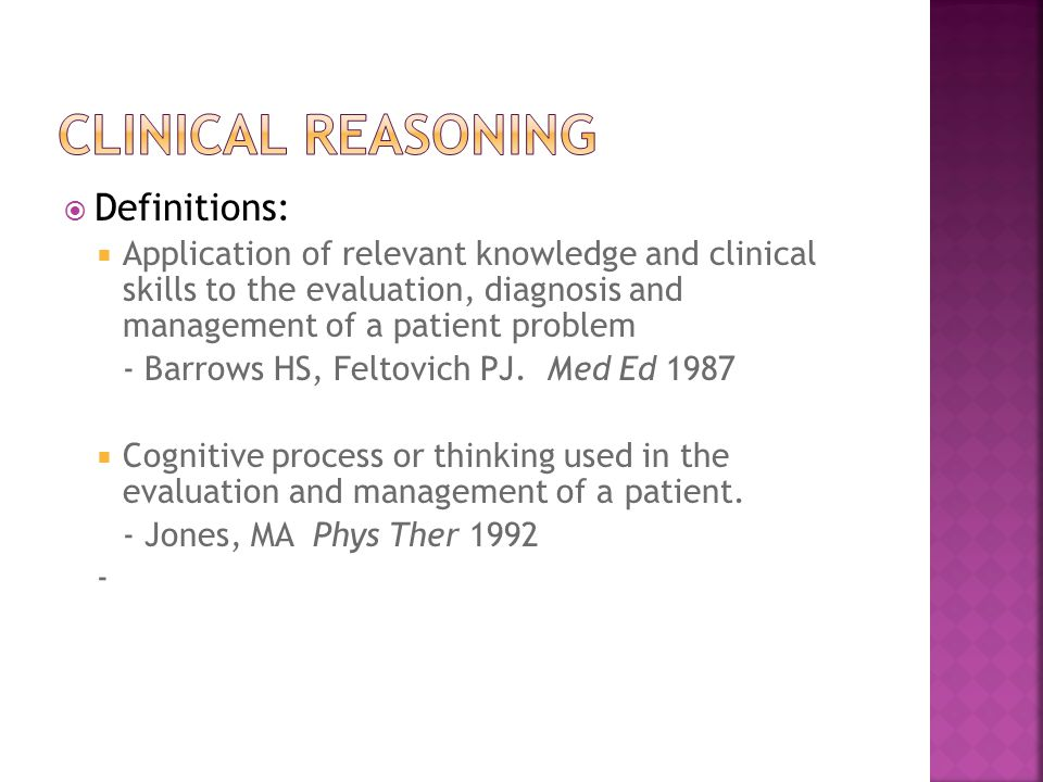 Clinical Reasoning Definitions: