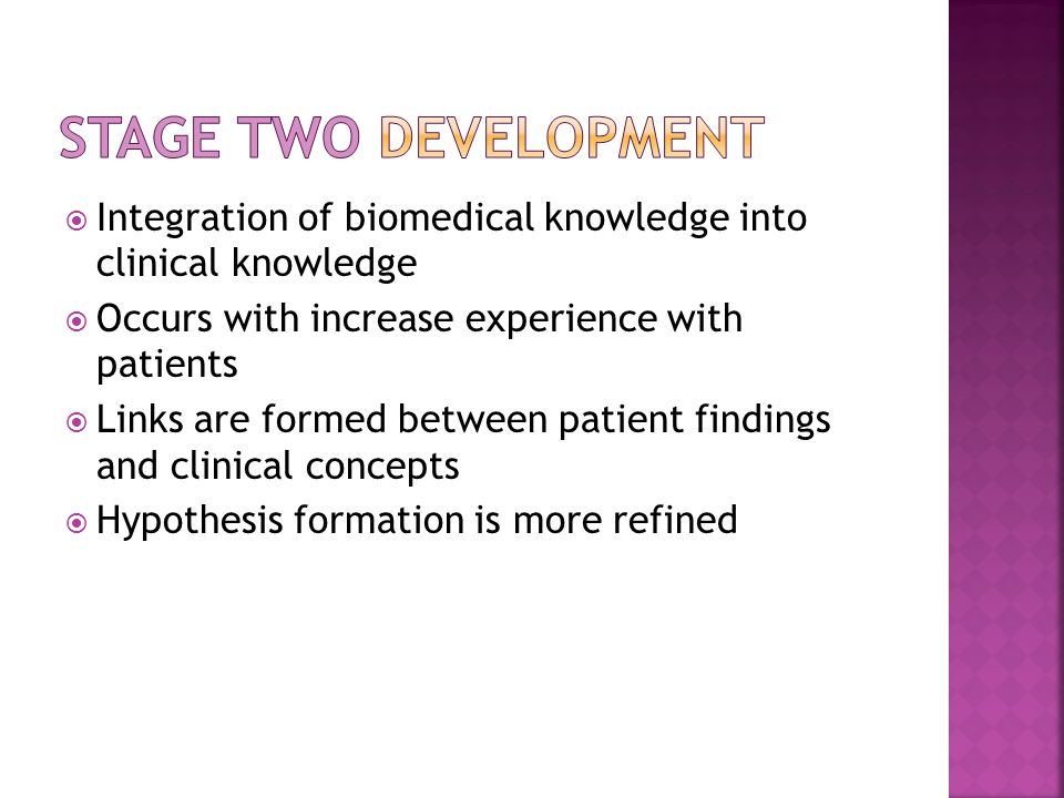 Stage Two Development Integration of biomedical knowledge into clinical knowledge. Occurs with increase experience with patients.