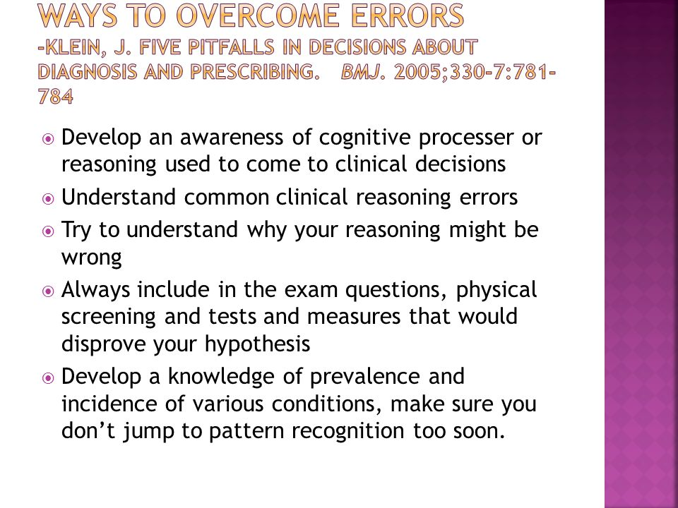 Ways to Overcome Errors -Klein, J