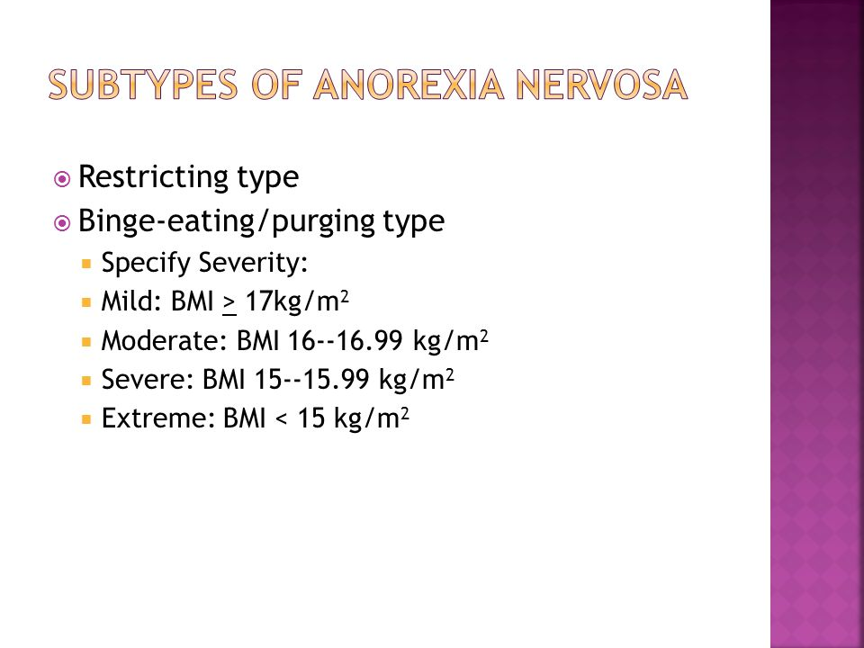 Subtypes of Anorexia Nervosa