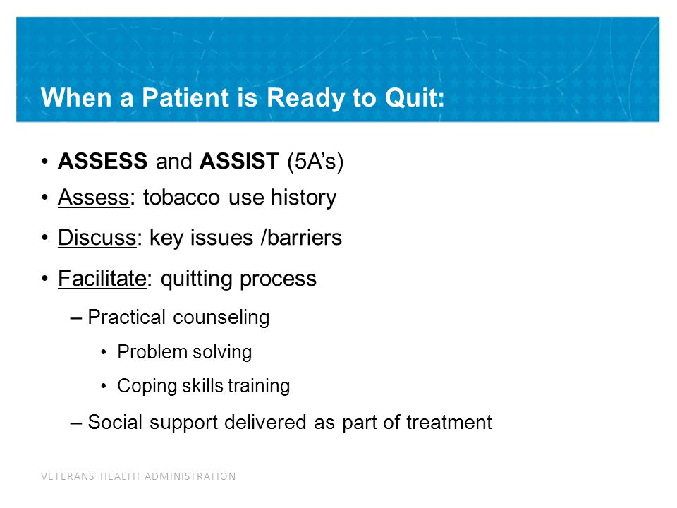 When a Patient is Ready to Quit: ASSESS Tobacco Use History