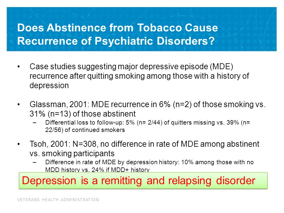 Mental Health Outcomes: Depressed Smokers Treated for Tobacco