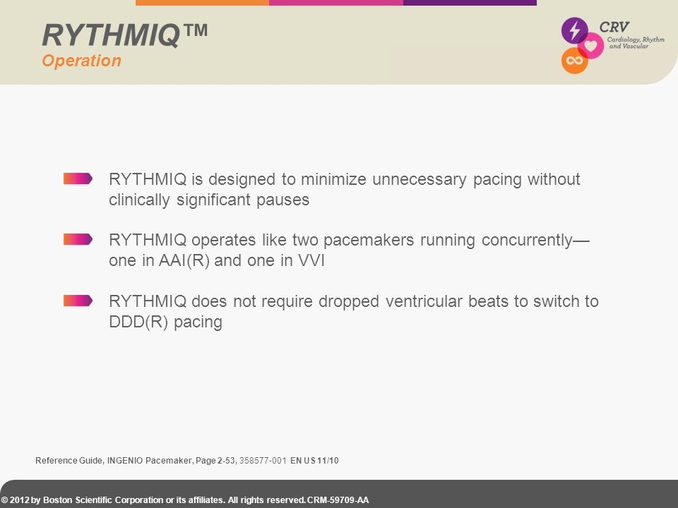 RYTHMIQ™ Operation. RYTHMIQ is designed to minimize unnecessary pacing without clinically significant pauses.