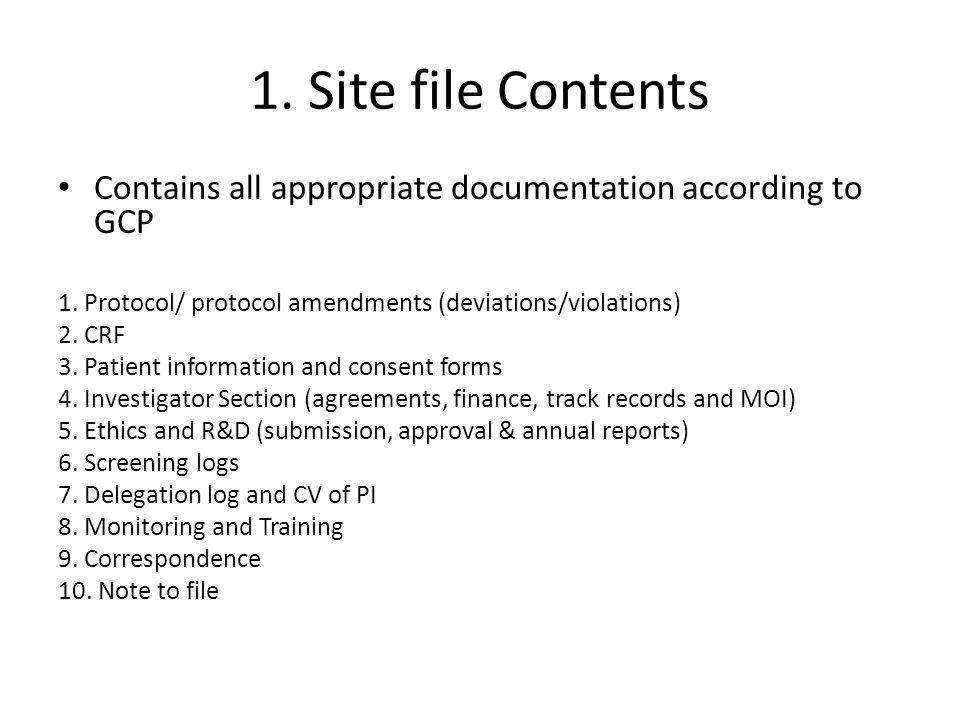 1. Site file Contents Contains all appropriate documentation according to GCP. 1. Protocol/ protocol amendments (deviations/violations)