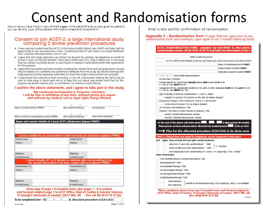 Consent and Randomisation forms