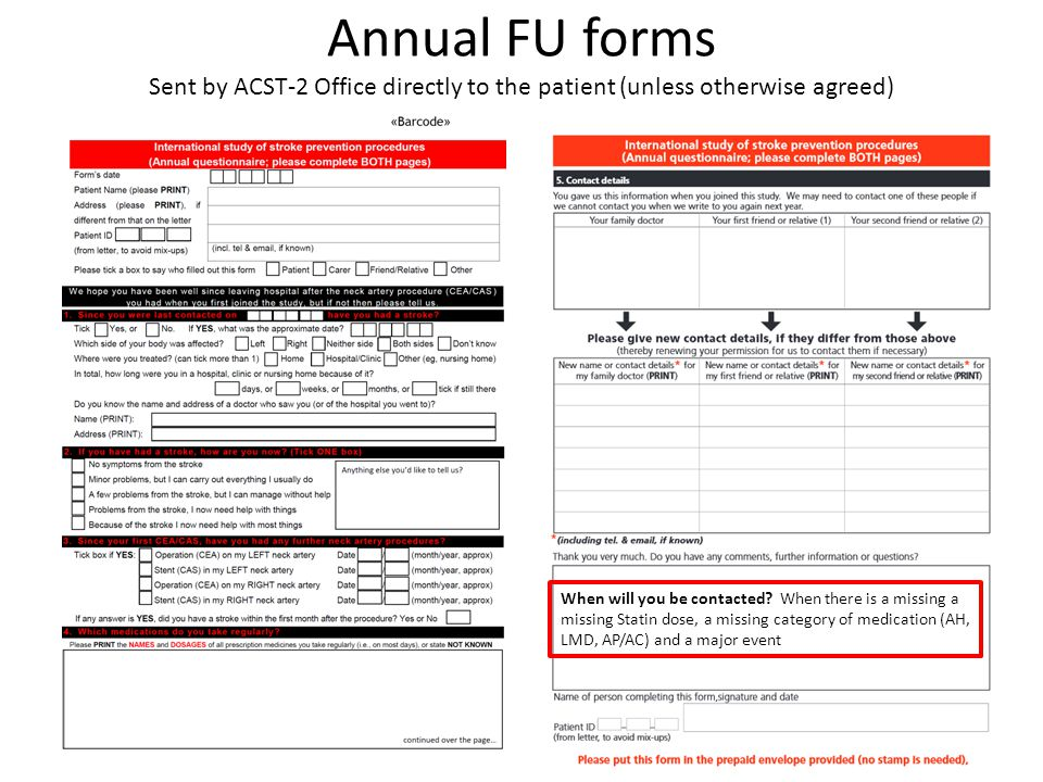 Annual FU forms Sent by ACST-2 Office directly to the patient (unless otherwise agreed)