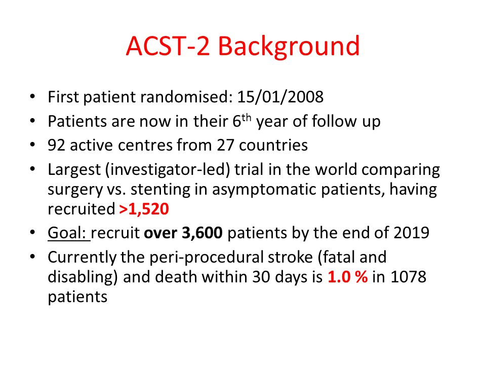 ACST-2 Background First patient randomised: 15/01/2008