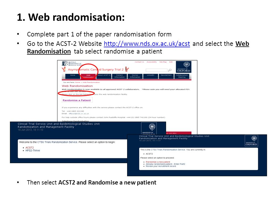 1. Web randomisation: Complete part 1 of the paper randomisation form