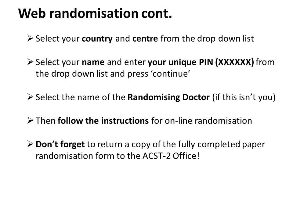 Web randomisation cont.