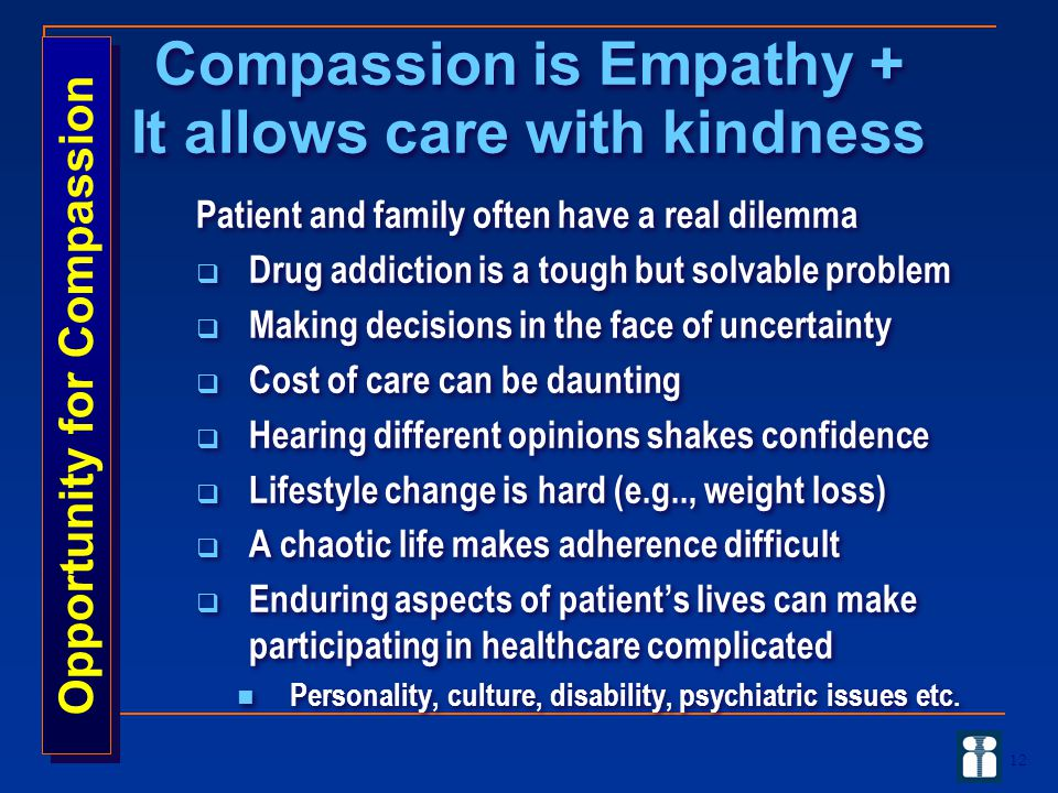 Compassion is Empathy + It allows care with kindness