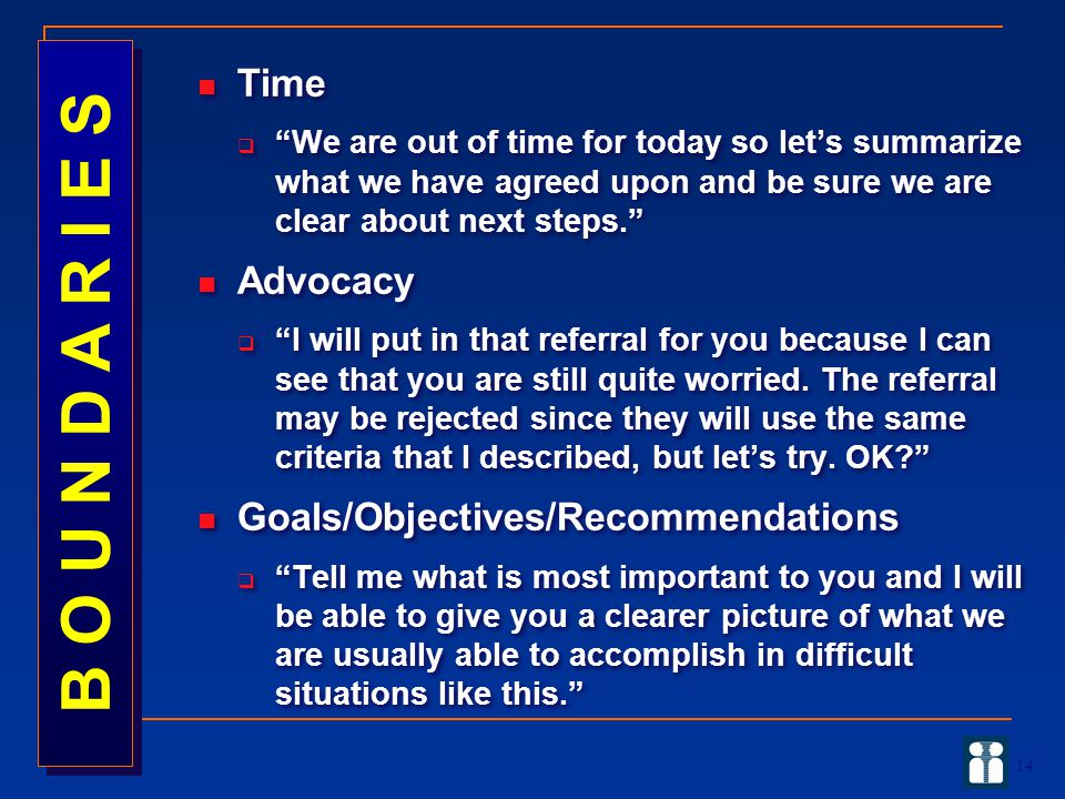 B O U N D A R I E S Time Advocacy Goals/Objectives/Recommendations