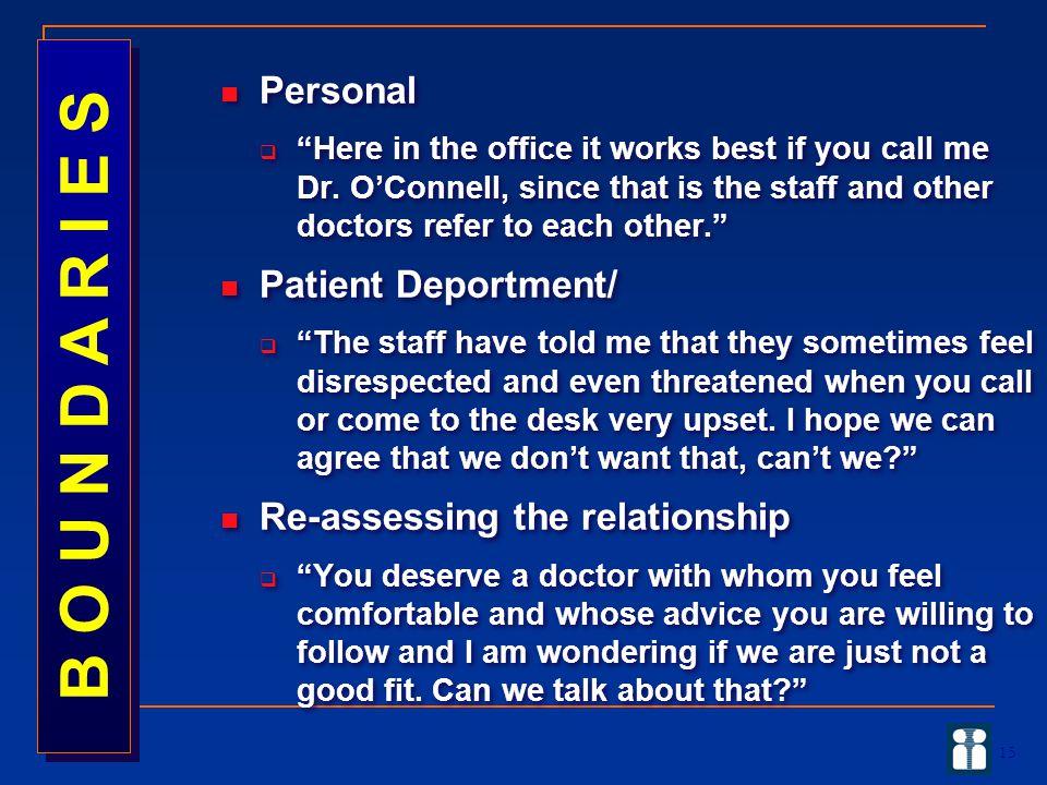 B O U N D A R I E S Personal Patient Deportment/
