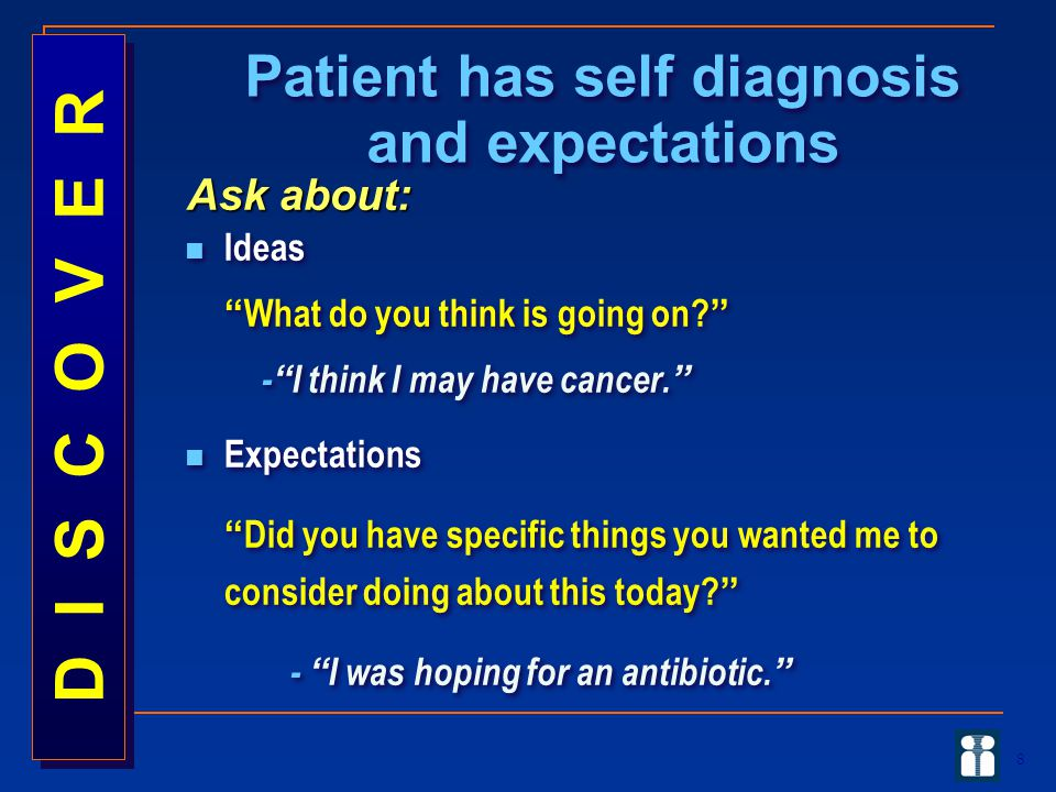 Patient has self diagnosis and expectations