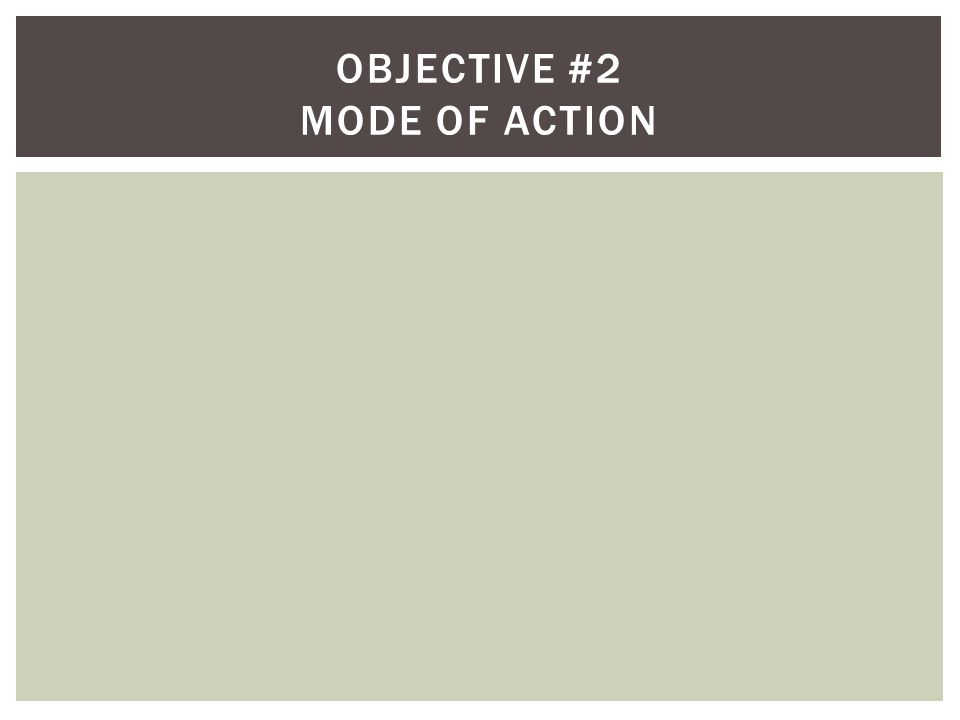 Objective #2 Mode of action