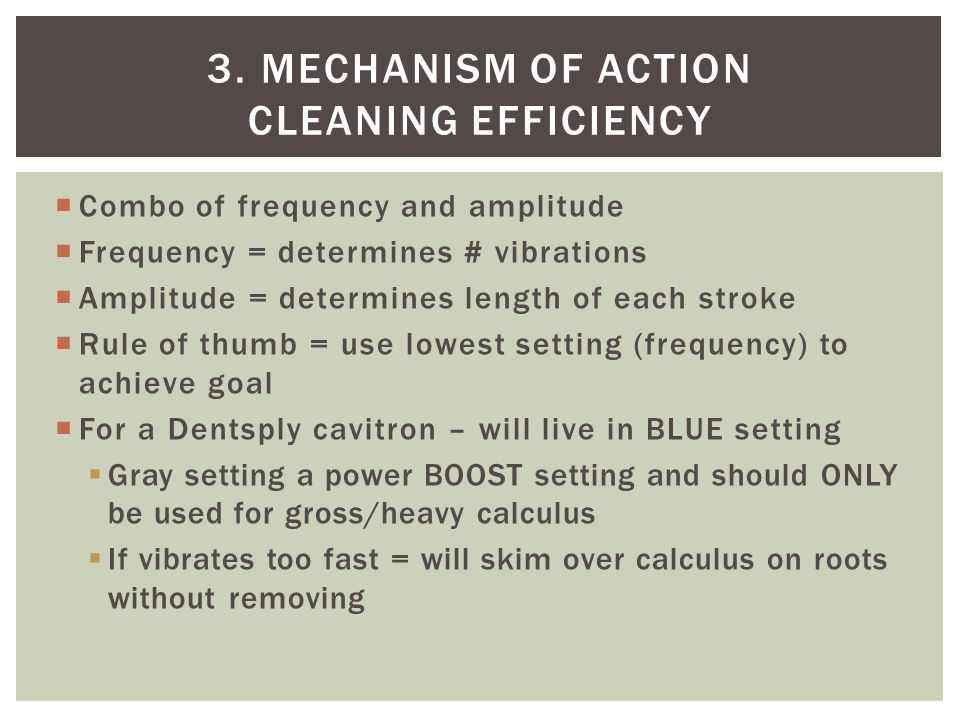 3. Mechanism of action Cleaning efficiency