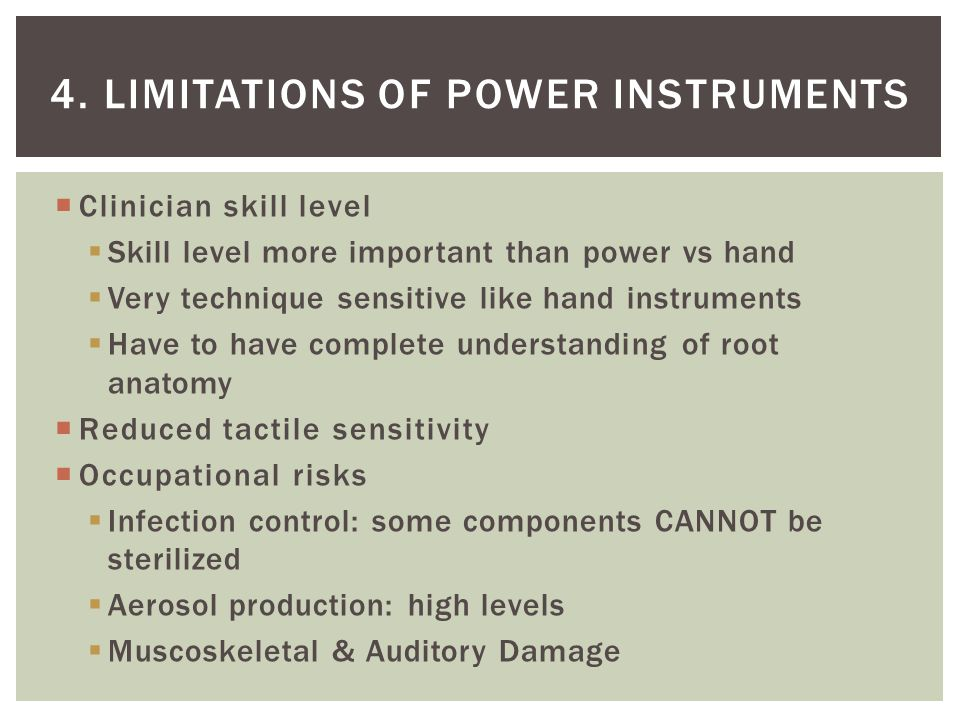 4. Limitations of power instruments