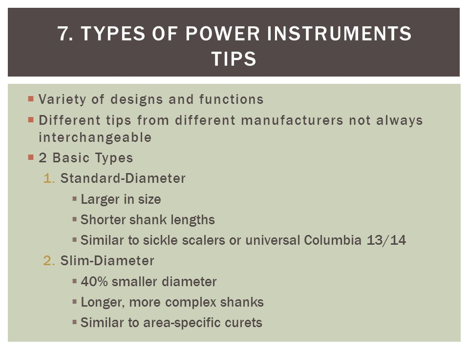 7. Types of power instruments Tips