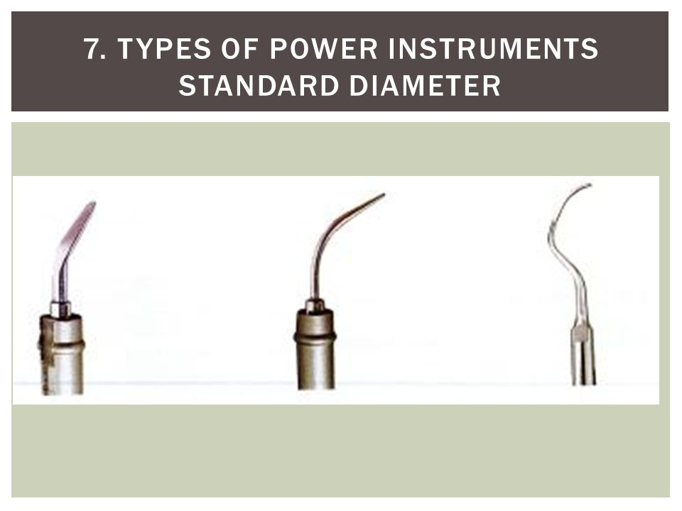 7. Types of power instruments Standard Diameter