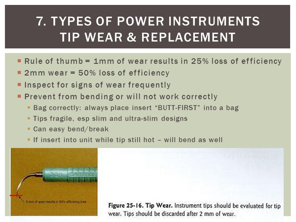 7. Types of power instruments Tip wear & replacement