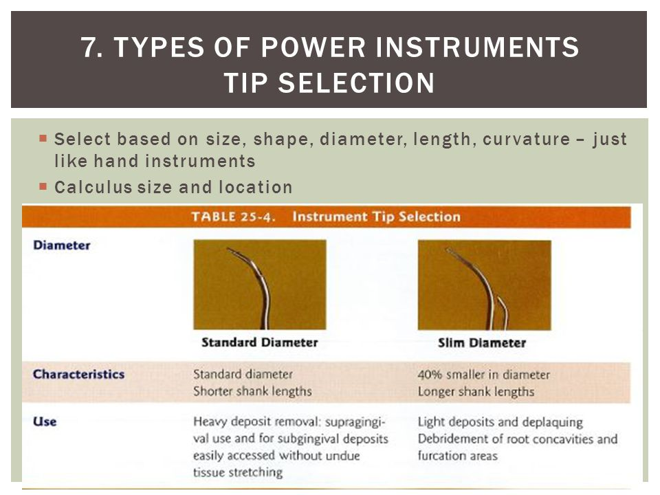 7. Types of power instruments Tip Selection