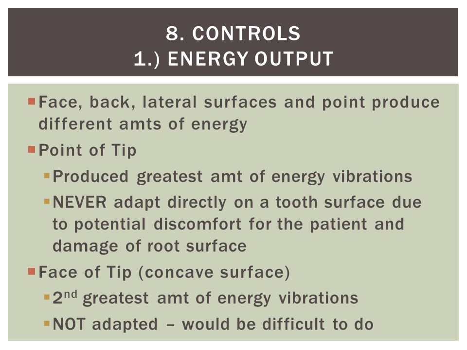 8. Controls 1.) Energy output