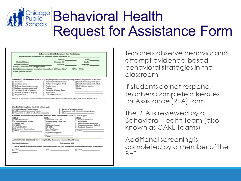 Behavioral Health Request for Assistance Form