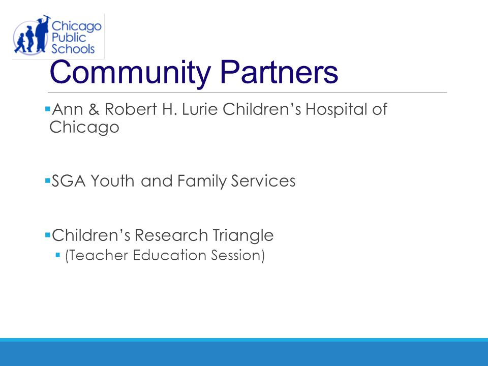 Community Partners Ann & Robert H. Lurie Children's Hospital of Chicago. SGA Youth and Family Services.
