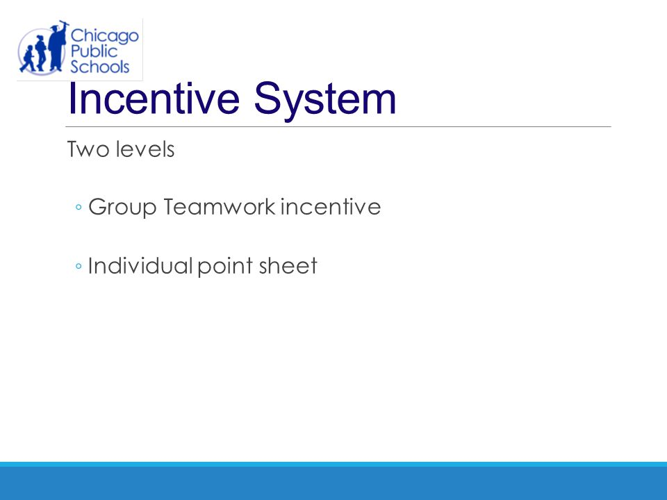 Incentive System Two levels Group Teamwork incentive