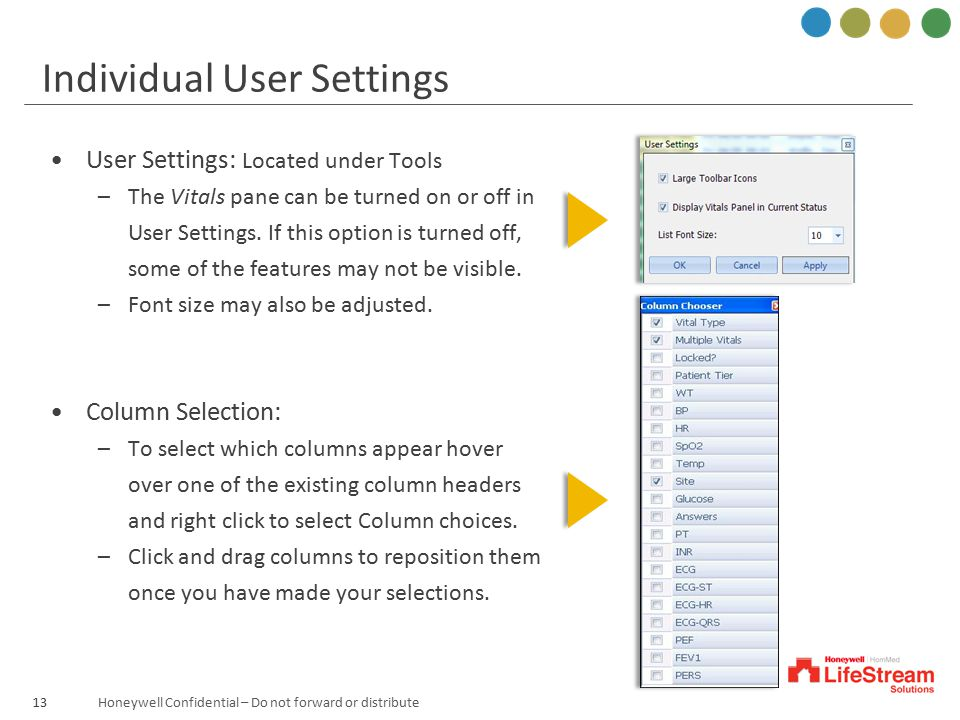 Individual User Settings