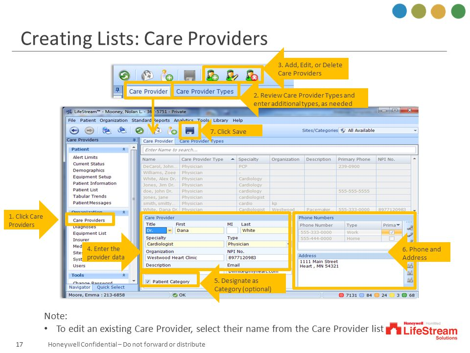 Creating Lists: Care Providers