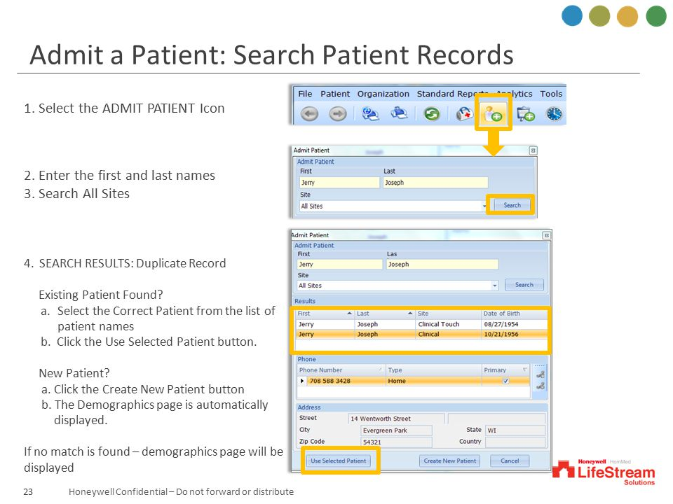 Admit a Patient: Search Patient Records