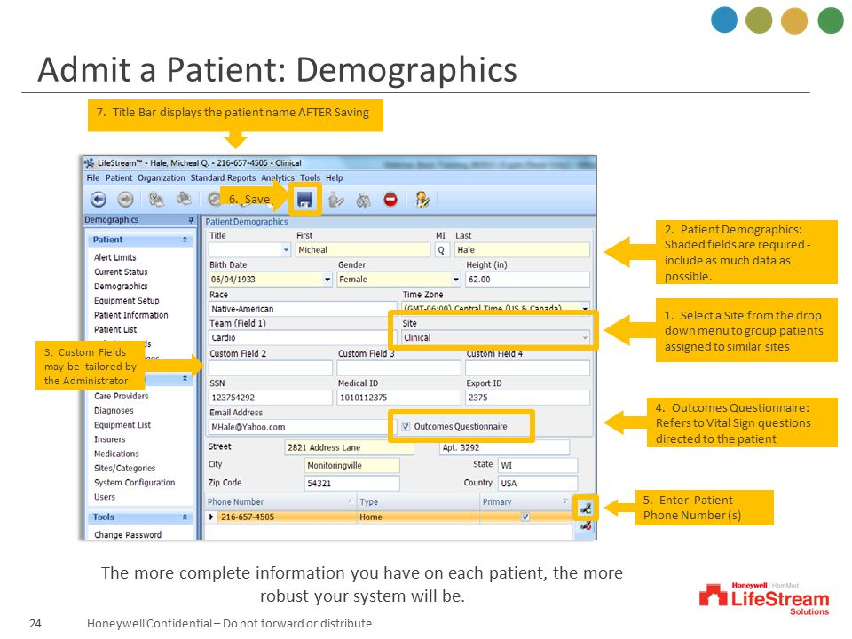 Admit a Patient: Demographics