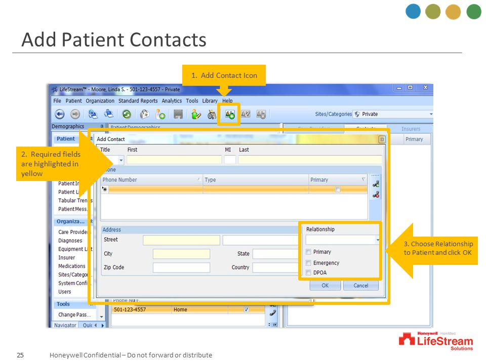 Add Patient Contacts 1. Add Contact Icon