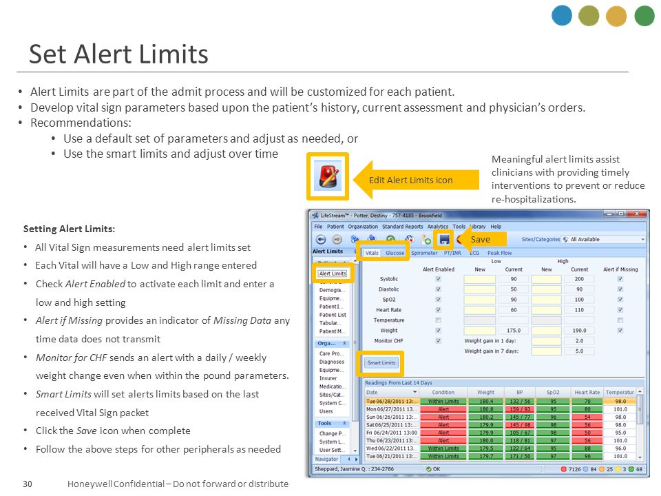 Set Alert Limits Alert Limits are part of the admit process and will be customized for each patient.