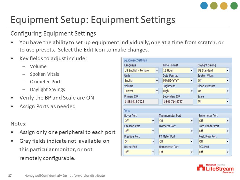 Equipment Setup: Equipment Settings
