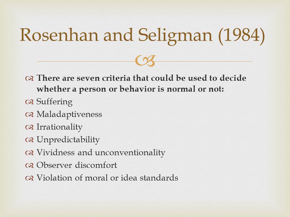 Rosenhan and Seligman (1984)