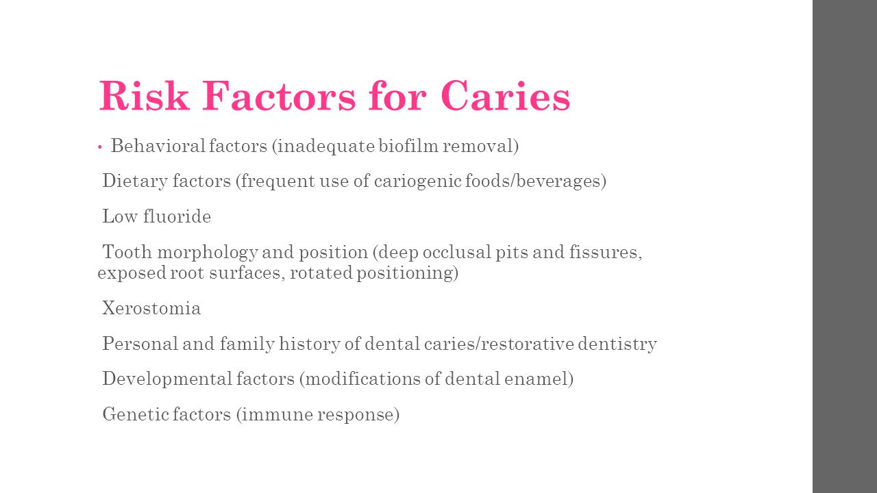 Risk Factors for Caries