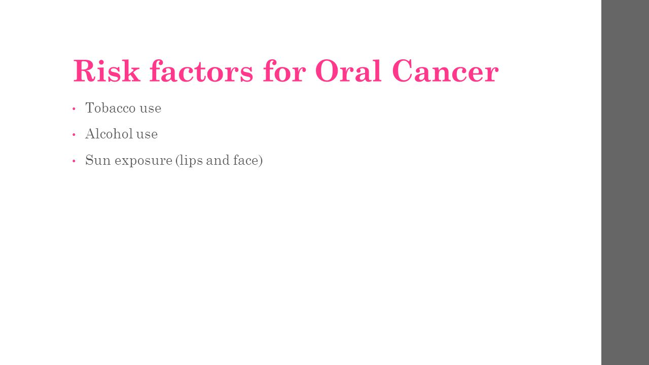 Risk factors for Oral Cancer