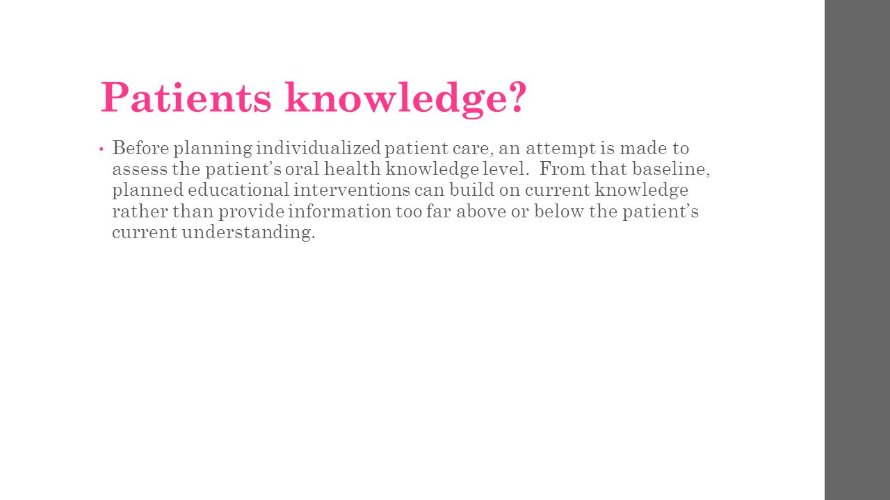 Patients knowledge