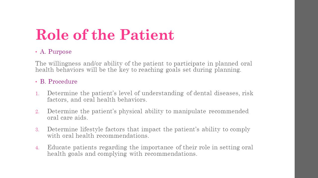 Role of the Patient A. Purpose