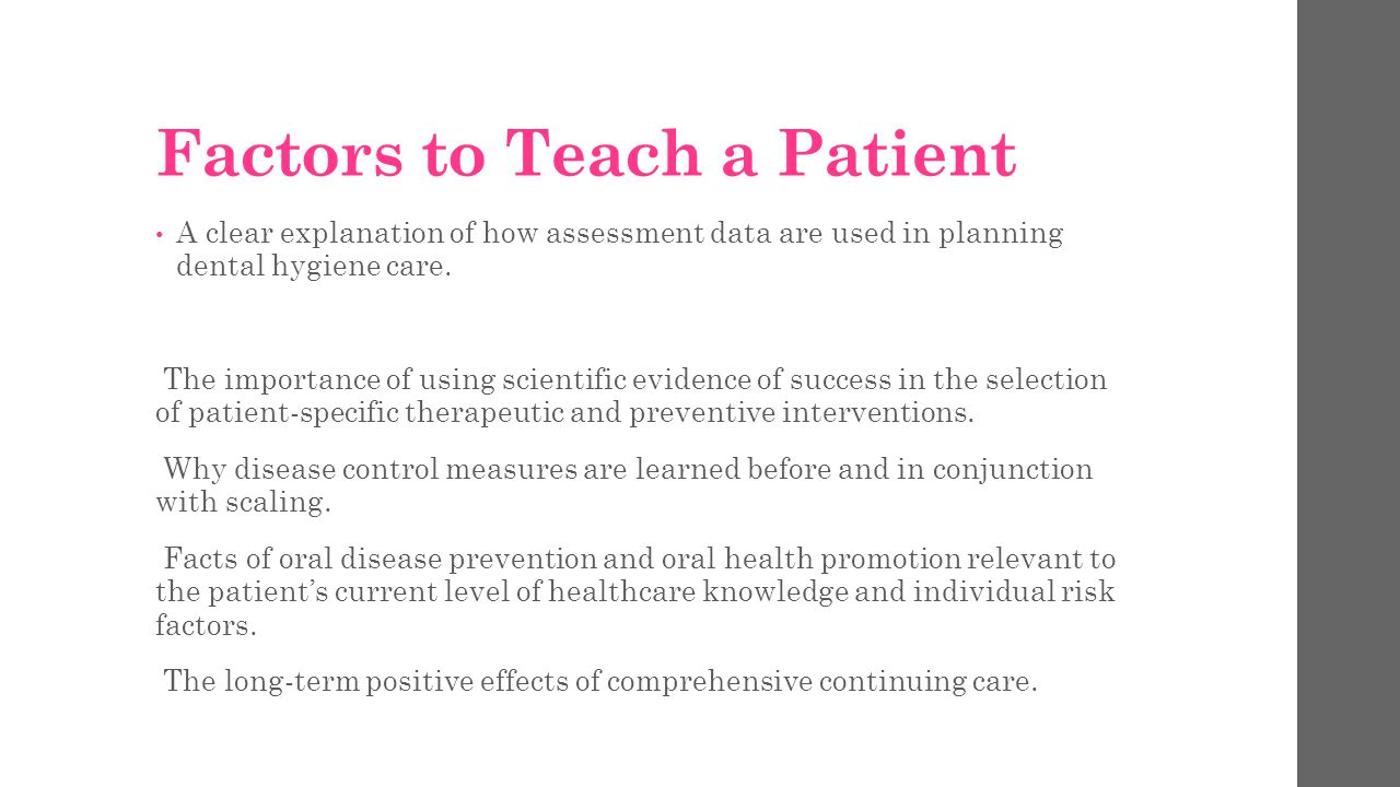 Factors to Teach a Patient