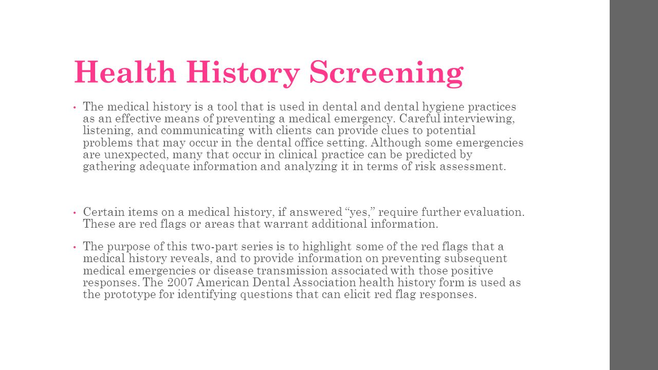 Health History Screening