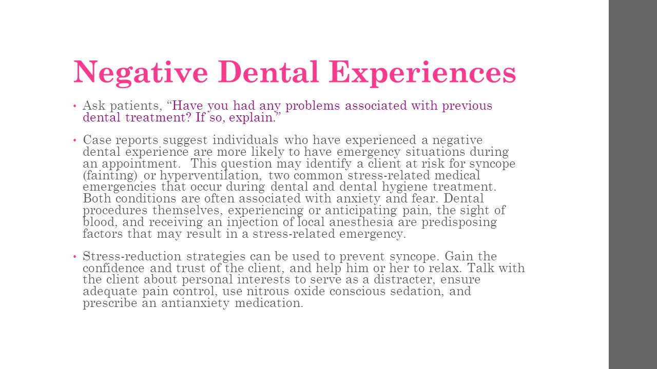 Negative Dental Experiences