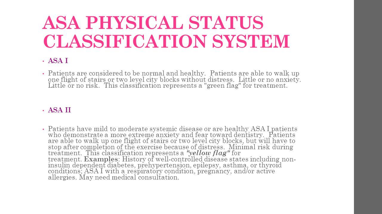 ASA PHYSICAL STATUS CLASSIFICATION SYSTEM