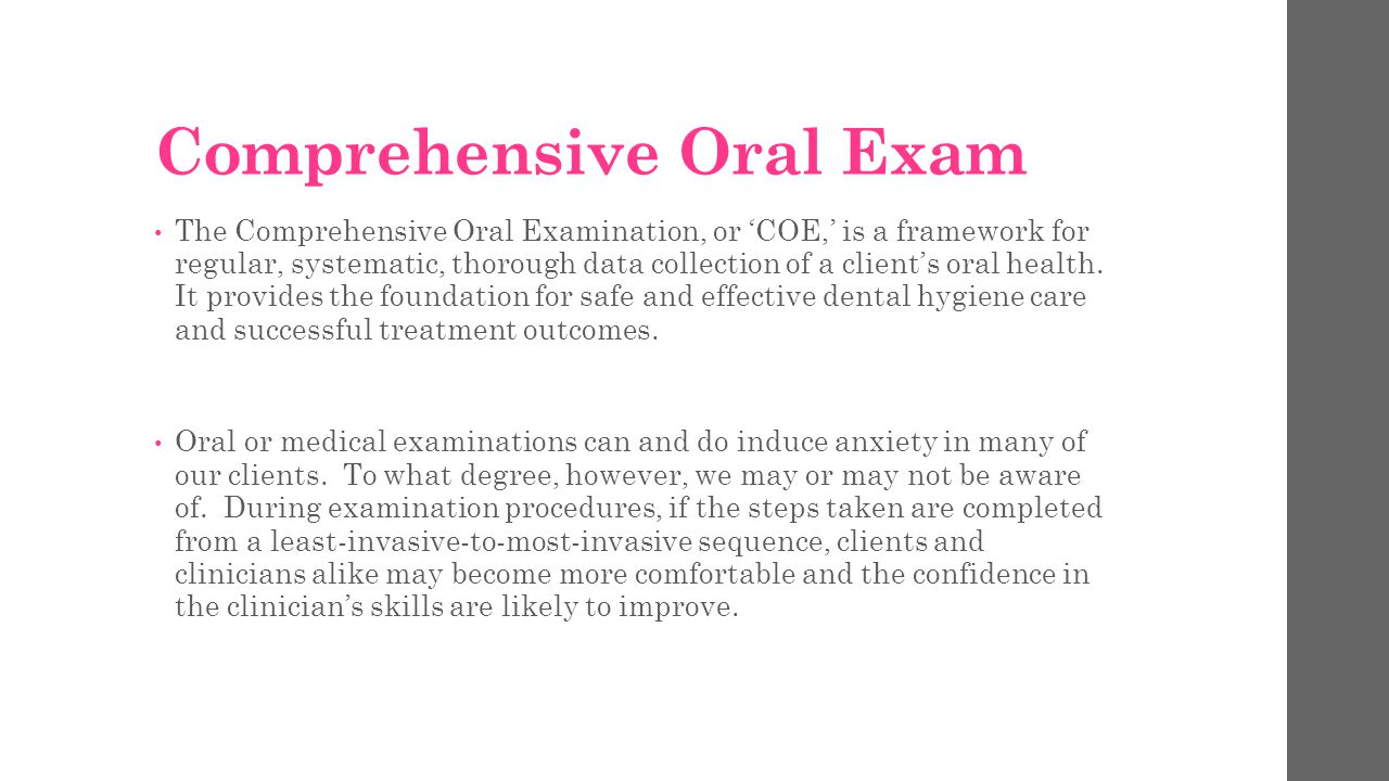 Comprehensive Oral Exam