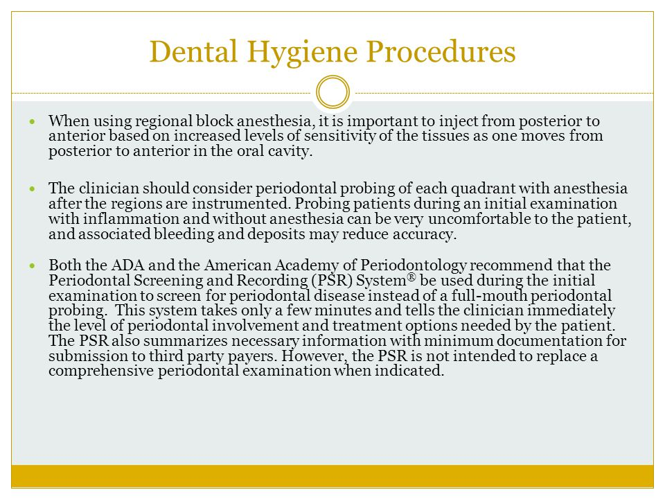 Dental Hygiene Procedures
